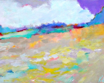 "Abstract Landscape Painting, Colorful, Original, Modern, ""Summer Fields"" 12x24"""