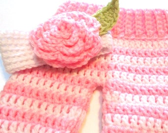 Newborn photography prop.  Crochet baby girl pants and headband with flower.  Ready to ship.  Pink and white striped pants.