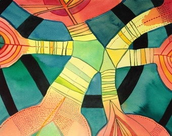 Abstract painting, Original watercolor, Convergence