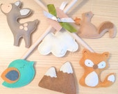 Baby mobile - Fox Mobile - forest Mobile - woodland animals Mobile - neutral Mobile
