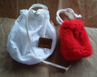 Valentine's Day Bag Bundle, Large 5x7inch Eyelet Lace Bag, and Red Plush Fleece 2.75x3inch Bag, Great For Placing Those Small Shiny Gifts In