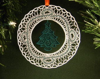 Wreath around Christmas tree ornament, embroidered lace, with hanger