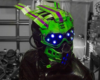 Equinox  - Scifi Cyberpunk unique one of a kind LED Light up + UV REACTIVE 2-part dystopian mask + head/eye-wear - Ready to ship