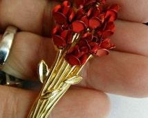 Vintage DM 1997 Gold Red Rose Flower Brooch Pin Dozen Of Roses