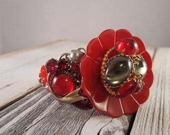 OOAK Red Vintage Flower Cluster Mixed Media Collage Statement Cuff Bracelet