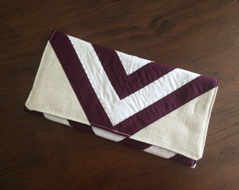 Envelope Snap Clutch, Purple and White *SALE*