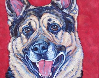 "Custom Pet Portrait Painting in Acrylic Paint on Stretched 9"" x 12"" x 3/4"" Canvas of One Dog, Cat, Animal. Pet memorial or dog lover gift"