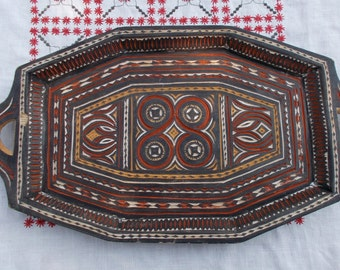 Turkish or Greek design carved wooden Tray  -  A lot of Detail work