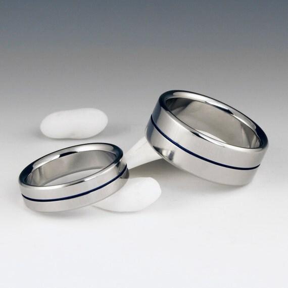 Titanium Wedding Band Set, His and Hers, Titanium Ring Set, Matching Ring Set, Titanium Band, Mens Ring, Womens Ring, Anniversary Ring Set