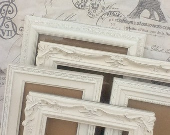 Shabby Chic PICTURE FRAMES  - Any Color -  Wedding Nursery Housewarming - Glass and Backing - Tabletop and Wall Hanging