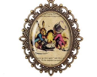 Alice in Wonderland Through The Looking Glass Tea Party Lewis Carroll John Tenniel Script Bronze Silver Large Cameo Necklace