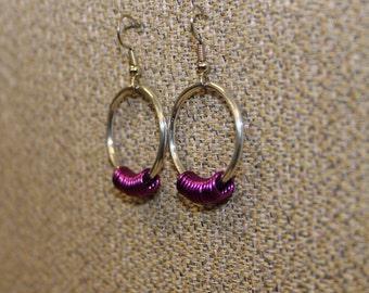 Aluminum and fuschia earrings