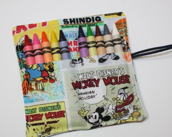 Mickey Mouse Party Favors Crayon Rolls, Mickey Mouse Comics Fabric Crayon Roll holds up to 10 Crayons,  PARTY FAVORS Crayon Rolls