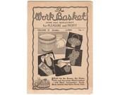 1945 Workbasket Magazine Vol 10 No 1, Crocheted Basket Pattern, Knitted Mittens Pattern, Basket of Violets Sachet Pattern, Crochet Shoe Bag