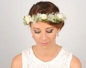 Flower Crown, Woodland Crown, Wedding Halo, Floral Hair Wreath, Wedding Wreath Headband, Ivory Hair Piece, Bridal Headpiece with Fern