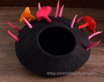 Black cat house with flower design, cat house made in Nepal,  felt cat bed, felted cat house, pet bed, handmade cat bed