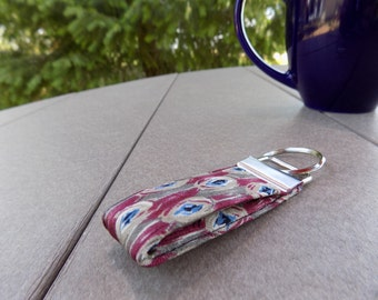 Masculine Upcycled Silk Necktie Mini Key Fob. Gift for Him Under 5 Stocking Stuffer Handmade Keychain Teen Teacher Coworker Ring Chain Keys