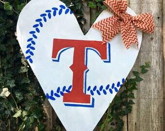 Texas Rangers Heart Shaped Metal Wire Screen Door Hanger Wreath