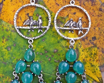 B.A.S.I.C.  - Turquoise & Silver Bird Earrings