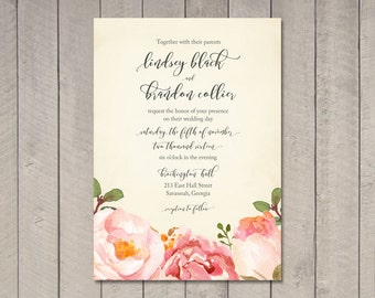 Romantic Floral Wedding Invitation (Printable) DIY by Vintage Sweet
