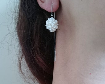 Sterling silver dangle earrings with  freshwater pearl beads