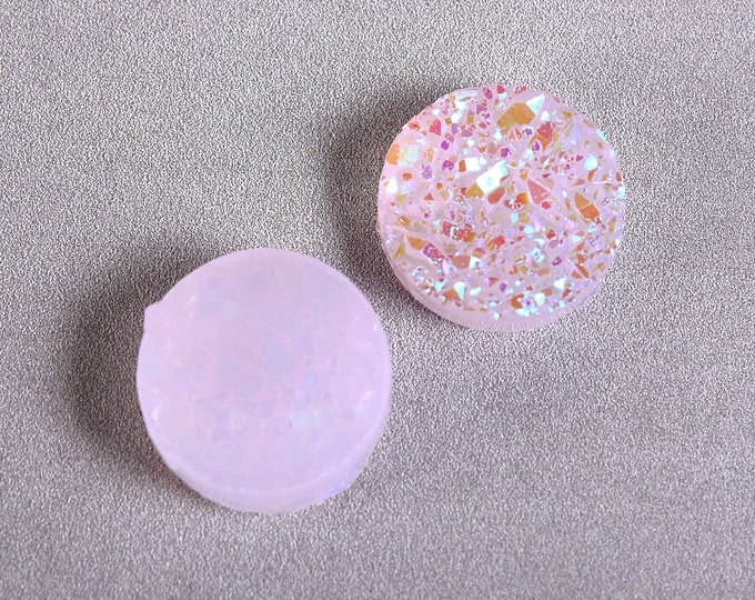12mm Lilac AB round resin cabochon - Mauve AB Faux druzy cabochon - Faux drusy cabochon - Textured cabochons (1655) - Flat rate shipping
