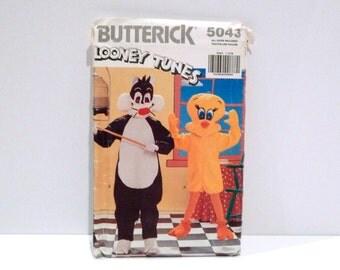 Tweety Bird Sylvester Cat Looney Tunes Costume Vintage Butterick 5043 Never Used Children Boys Girls Small Medium Large Halloween Cosplay