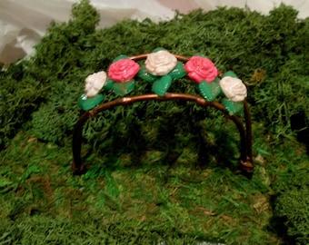 Small Fairy Garden/Terrarium Arbor-OOAK-Copper Wire/Poymer Clay