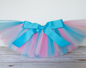 Pink & blue tutu 'Princess' Newborn baby tutu photo prop birthday tutu 3 months 6 months 9 months 12 months 18 months light pink turquoise