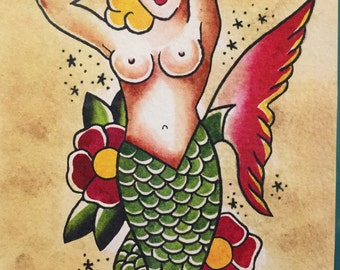 Mermaid Tattoo Flash