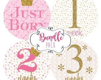BUNDLE PACK  Set of 20 Pink and Gold Glitter Confetti Newborn Stickers for Baby Girl Milestones Monthly Baby Stickers Custom Baby Decals