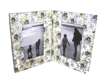 Double Free Standing 6x4 Photo Frame  - Lilac Roses Decoupaged Desktop Double Photo Frame