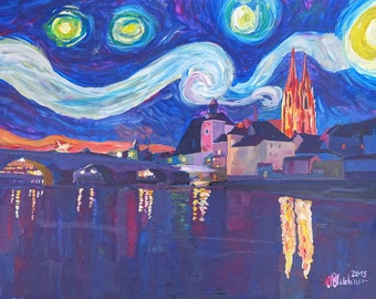 Starry Night in Regensburg  Van Gogh Inspirations on River Danube - Limited Edition Fine Art Print/Original Canvas Painting