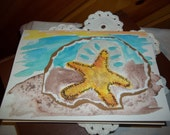 Watercolor Beach Happy Birthday Card - Watercolor Card - Starfish - Blue Ocean - Sand - Original Art - ArtFromTheCabin