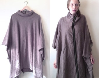 Avant Garde CASHMERE  Tan Poncho with Big Long Zipper and Cowl Neck Nude beige