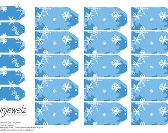 Frozen Snowflake Christmas Small & TinyGift Tags Collage sheet, scrapbooking, cardmaking, blue INSTANT DIGITAL DOWNLOAD