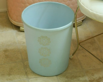 Vintage Light Baby Blue Pale Sky Blue Plastic Trash Can Waste Basket Receptacle Bin w/ silver metallic foil  embossed retro flowers