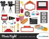 BUY 2 GET 1 FREE movie night clipart / movie theater clip art / cinema film movies theatre award vector illustration / commercial use ok