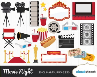 20% OFF movie night clipart / movie theater clip art / cinema film movies theatre award vector illustration / commercial use ok