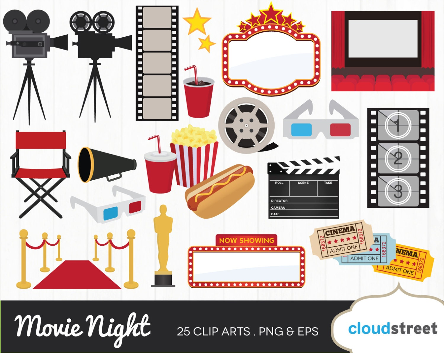 Cinema clipart  20% OFF movie night clipart / movie theater clip art / cinema