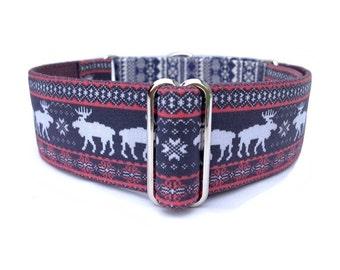 Moose Sweater Winter Dog Collar - Adjustable Martingale Collar or Buckle Fair Isle Dog Collar