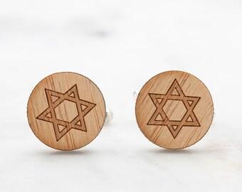 Star of David Cufflinks - Shield of David Wood Cufflinks - Hebrew Cufflinks - Religious Faith Cufflinks - Graduation Gifts for Men