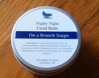 Nighty Night Facial Balm, Organic, Tamanu Oil, Moisturize, On a Branch Soaps, Vegan