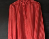 Vintage Jonquil Red and white striped blouse
