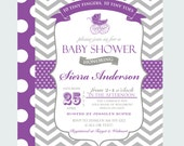 Purple Carriage Baby Shower Invitations Girls Vintage Grey Chevron and Polka Dot Invites Classic Sprinkle Party Printable or Print (PCARRI1)