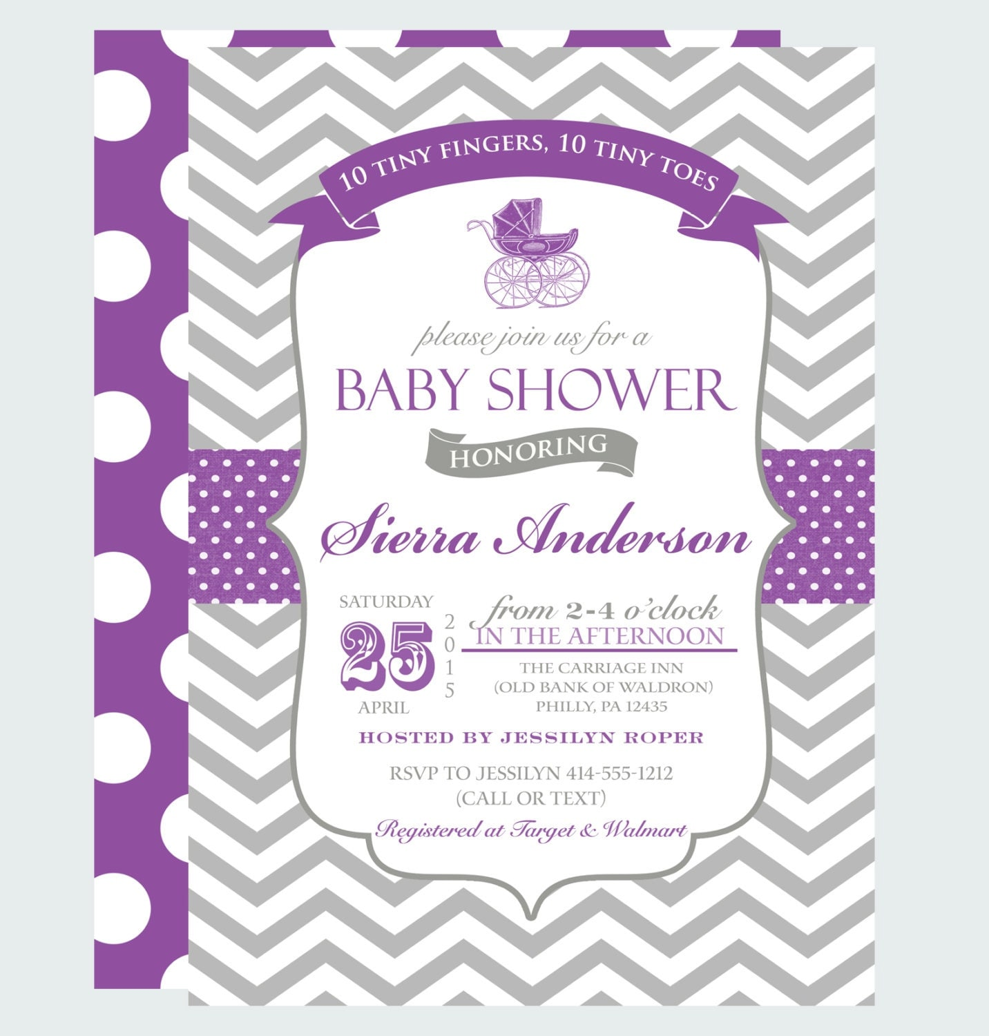 purple carriage baby shower invitations girls by papercleverparty