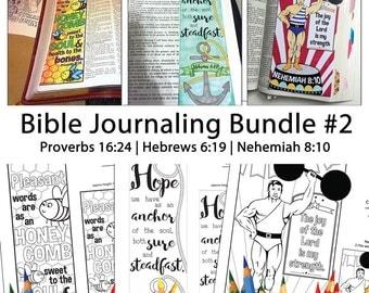 Bible Journaling Bible Verse Art Bible Verse Print great for faith journals Art Journals Bundle 2 Proverbs 16-24 Hebrews 6-19 Nehemiah 8-10