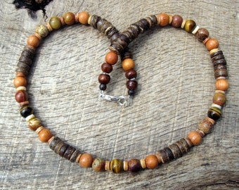 Mens surfer necklace, tiger eye, jasper, wood and coconut shell beads, tribal style, handmade from natural materials, on strong cord