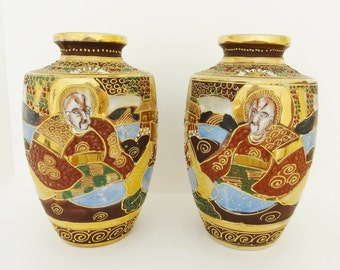 JAPANESE SATSUMA VASES - Matched Pair - Signed (Unknown Mark) - Possibly Quite Old