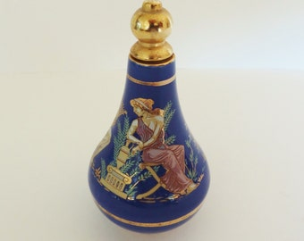 PORCELAIN PERFUME BOTTLE - Bardaco Cobalt Blue with 3 Grecian Figures - Brass Stopper with Applicator - Made In Greece